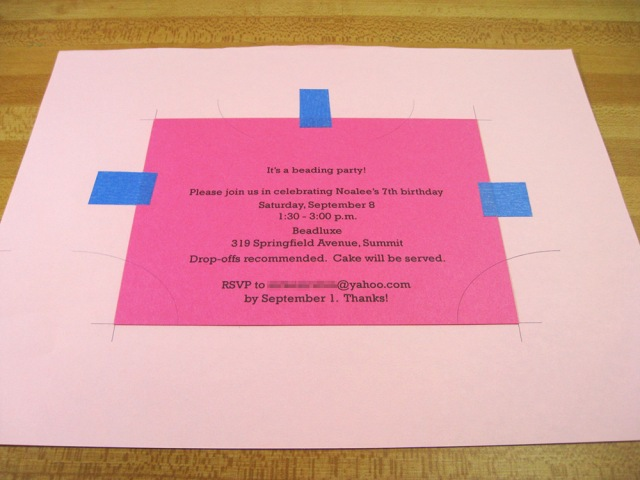 Pink invitation taped to plain paper template