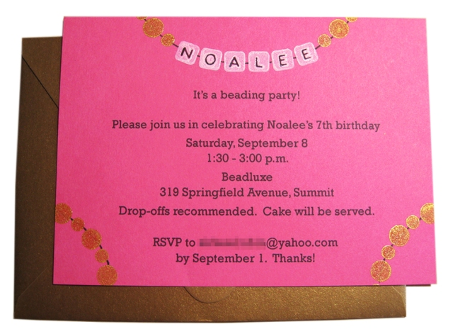 beading party invitation