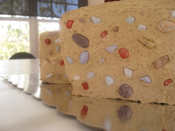 closeup of rock-climbing cake with candy rocks