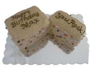 "rock climbing cake that says ""Happy Birthday Max. You Rock!"""