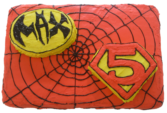 Superhero cake with Batman, Superman and Spiderman elements