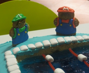 closeup of Mario and Luigi gingerbread men